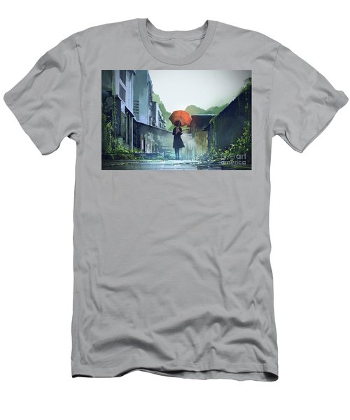 Alone In The Abandoned Town Men's T-Shirt (Athletic Fit)