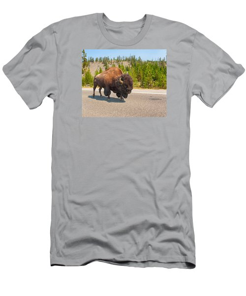 Men's T-Shirt (Slim Fit) featuring the photograph American Bison Sharing The Road In Yellowstone by John M Bailey
