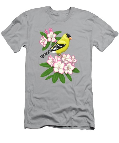 American Goldfinch And Coast Rhododendron Men's T-Shirt (Athletic Fit)
