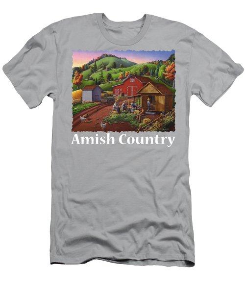 Amish Country T Shirt - Farmers Shucking Corn Country Farm Landscape - Corncrib - Corn Crib Men's T-Shirt (Athletic Fit)