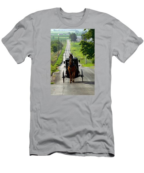 Amish Morning Commute Men's T-Shirt (Slim Fit) by Lawrence Boothby