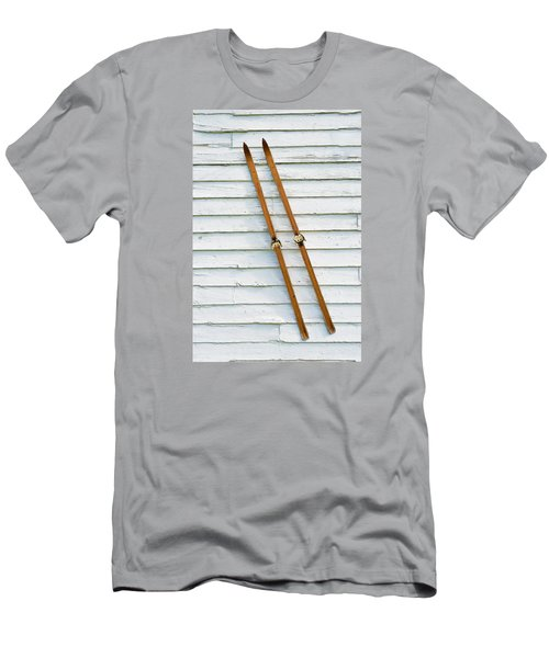 Men's T-Shirt (Slim Fit) featuring the photograph Antique Skis On The Wall by Gary Slawsky