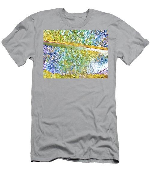 Men's T-Shirt (Slim Fit) featuring the mixed media Aqua Metallic Series Cool by Tony Rubino