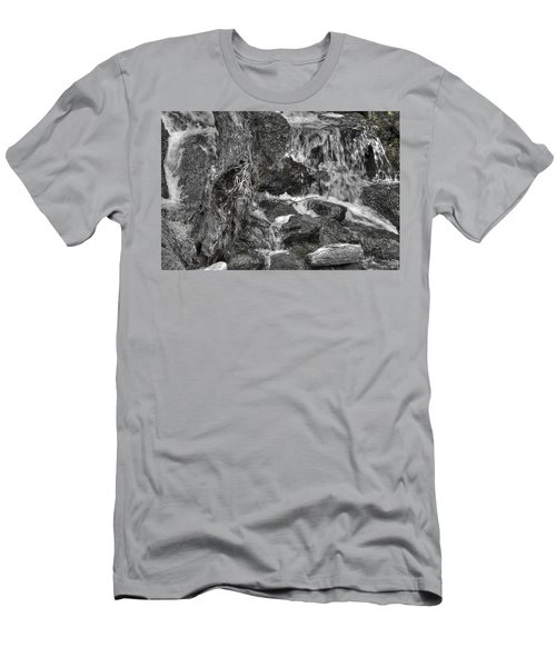Arboretum Waterfall Bw Men's T-Shirt (Slim Fit) by Richard J Cassato