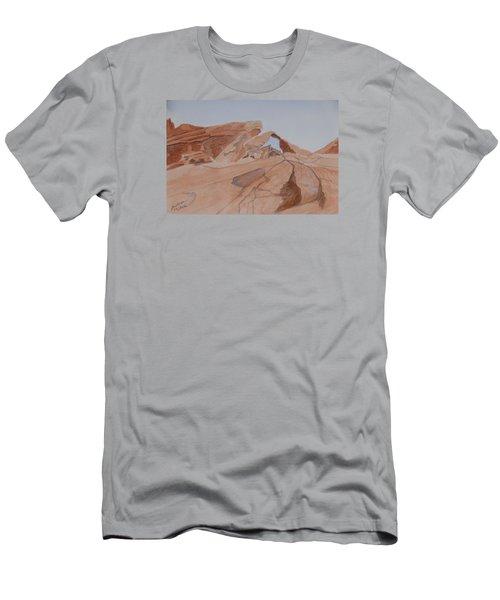 Arch Rock - A Watercolor Sketch Men's T-Shirt (Slim Fit)
