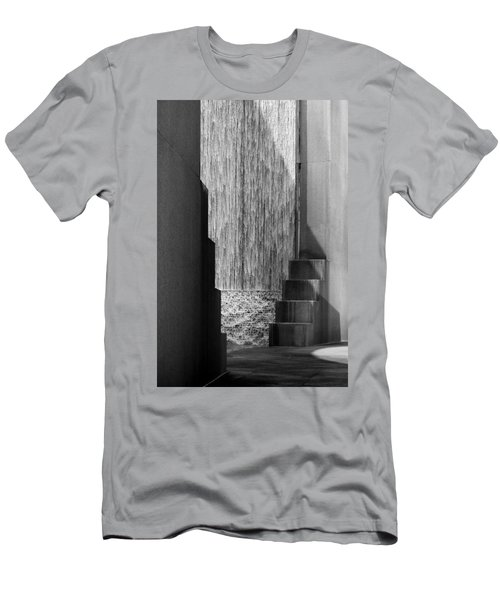 Architectural Waterfall In Black And White Men's T-Shirt (Athletic Fit)