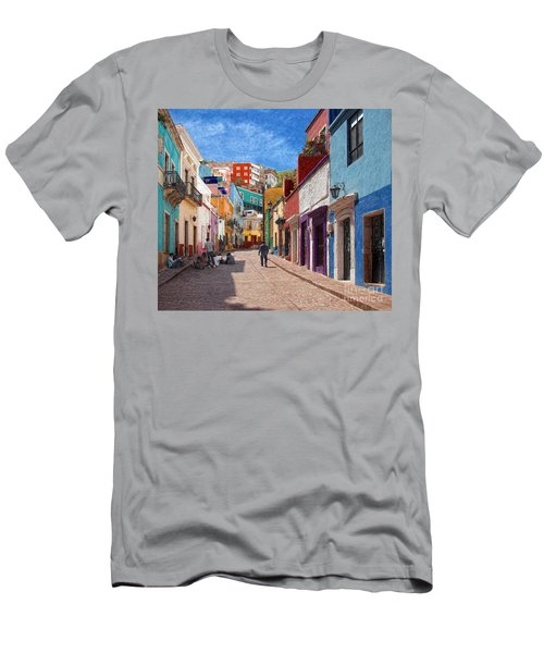 Men's T-Shirt (Slim Fit) featuring the photograph Art Students Drawing A Street In Guanajuato by John Kolenberg