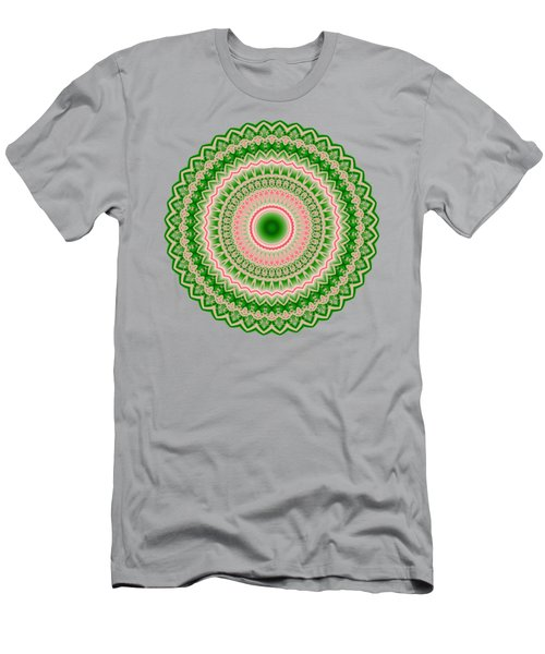 Pink And Green Mandala Fractal 002 Men's T-Shirt (Athletic Fit)