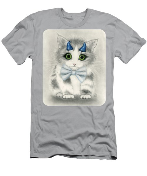 Men's T-Shirt (Athletic Fit) featuring the drawing Little Blue Horns - Devil Kitten by Carrie Hawks