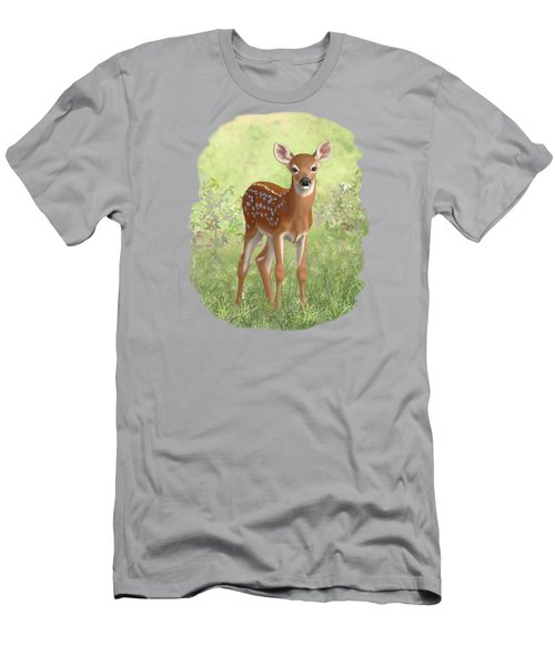 Cute Whitetail Deer Fawn Men's T-Shirt (Slim Fit) by Crista Forest