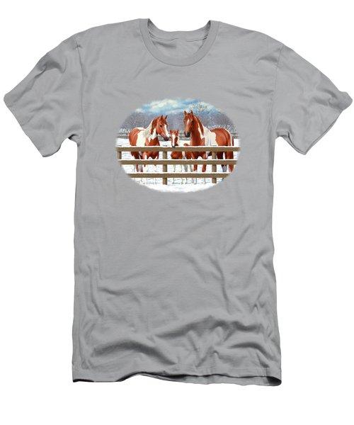Chestnut Paint Horses In Snow Men's T-Shirt (Athletic Fit)