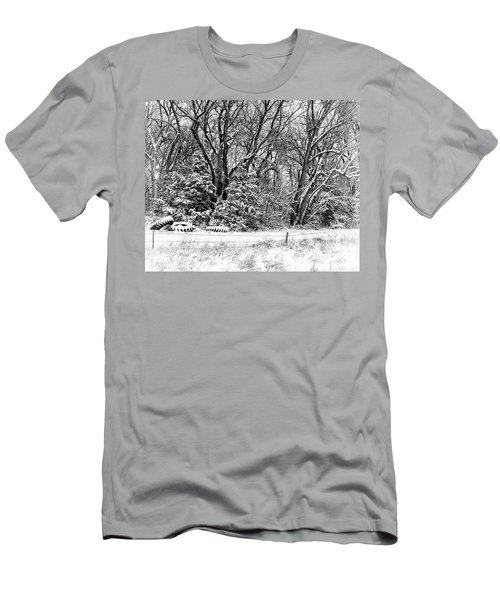 Men's T-Shirt (Slim Fit) featuring the photograph Three Tires And A Snowstorm by Bill Kesler