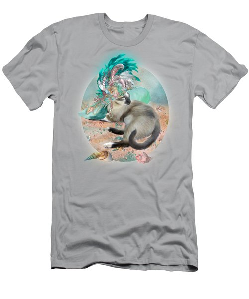 Men's T-Shirt (Slim Fit) featuring the mixed media Cat In Summer Beach Hat by Carol Cavalaris