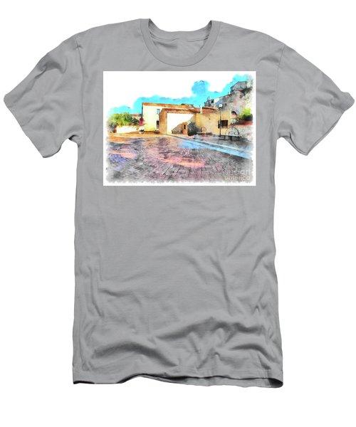 Arzachena Church Square Snow Madonna Men's T-Shirt (Athletic Fit)