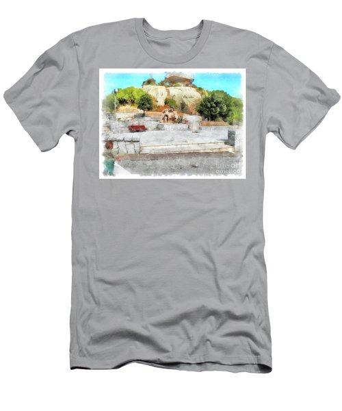Arzachena Mushroom Rock With Children Men's T-Shirt (Athletic Fit)