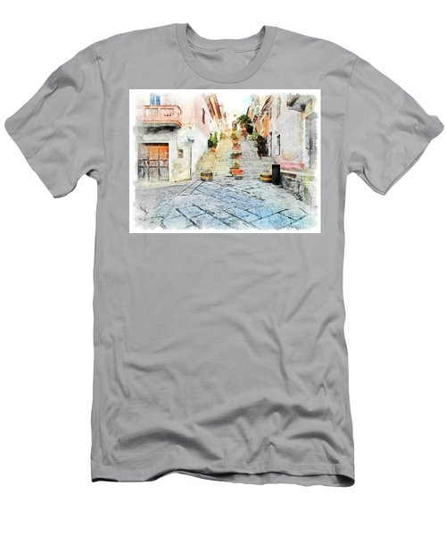 Arzachena View Staircase And Church Men's T-Shirt (Athletic Fit)
