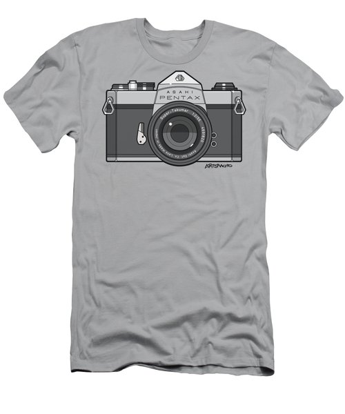 Asahi Pentax 35mm Analog Slr Camera Line Art Graphic Gray Men's T-Shirt (Athletic Fit)