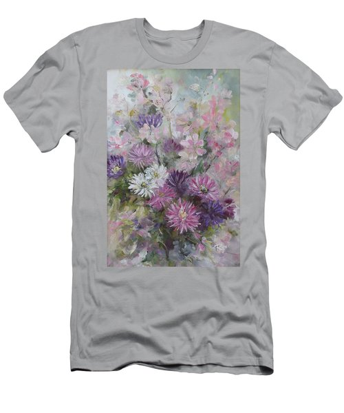 Men's T-Shirt (Athletic Fit) featuring the painting Asters And Stocks by Ryn Shell