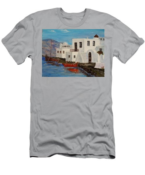 Men's T-Shirt (Slim Fit) featuring the painting At Home In Greece by Marilyn  McNish