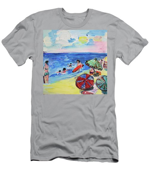 At The Beach Men's T-Shirt (Slim Fit) by Amara Dacer