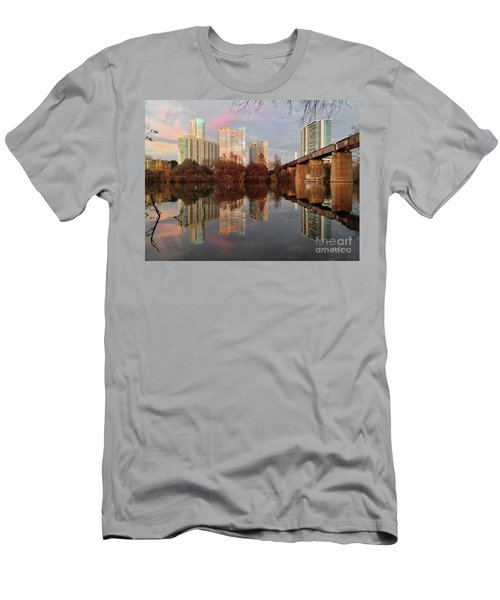 Austin Hike And Bike Trail - Train Trestle 1 Sunset Triptych Left Men's T-Shirt (Athletic Fit)