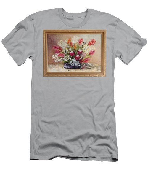 Men's T-Shirt (Slim Fit) featuring the painting Australian Natives by Renate Voigt