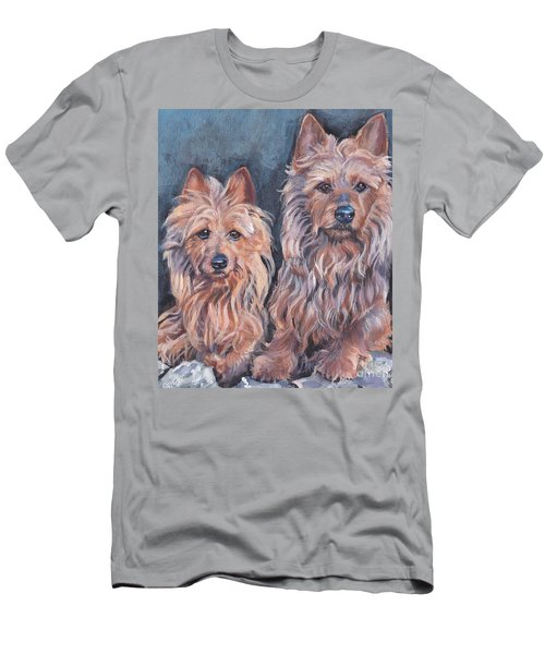 Men's T-Shirt (Slim Fit) featuring the painting Australian Terriers by Lee Ann Shepard