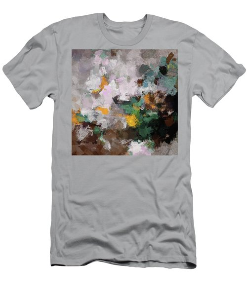 Men's T-Shirt (Slim Fit) featuring the painting Autumn Abstract Painting by Ayse Deniz