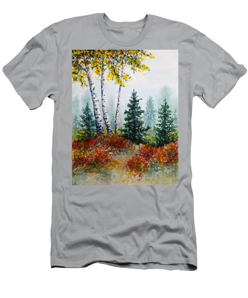 Men's T-Shirt (Slim Fit) featuring the painting Autumn Birch by Carolyn Rosenberger