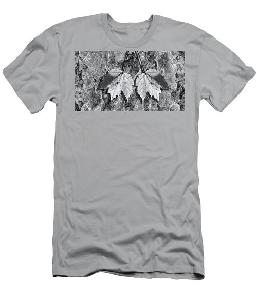 Autumn Leaf Abstract In Black And White Men's T-Shirt (Athletic Fit)