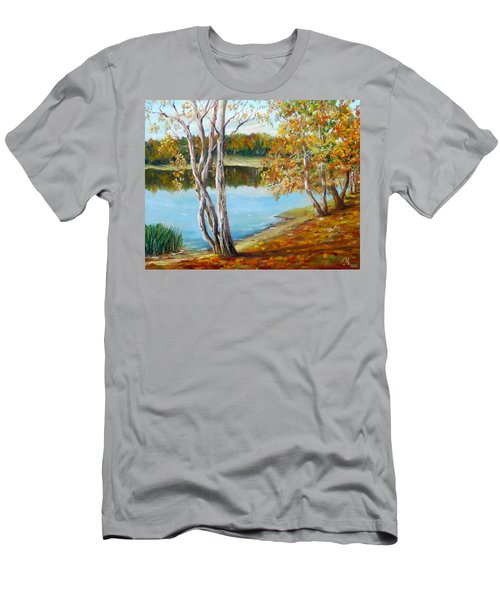 Men's T-Shirt (Slim Fit) featuring the painting Autumn by Nina Mitkova