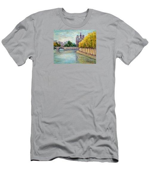 Autumn On The Seine Men's T-Shirt (Slim Fit) by Jill Musser