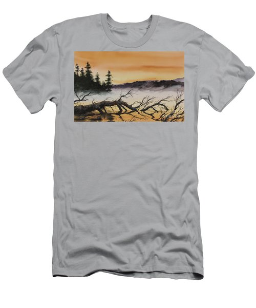 Men's T-Shirt (Slim Fit) featuring the painting Autumn Sunset Mist by James Williamson
