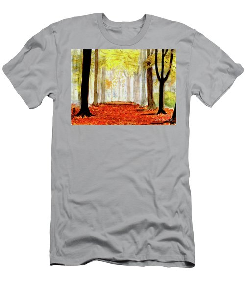 Men's T-Shirt (Slim Fit) featuring the painting Autumn Trail by Yoshiko Mishina