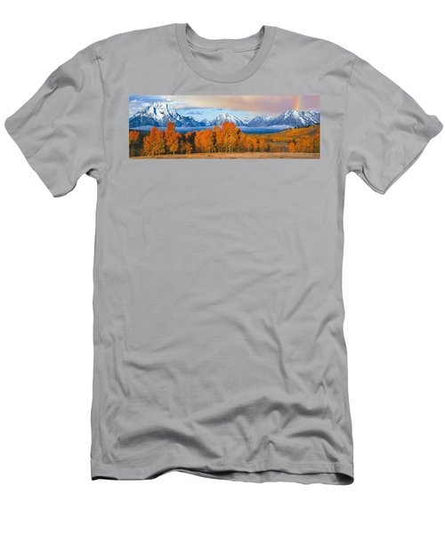 Autumn Trees With Mountain Range Men's T-Shirt (Athletic Fit)