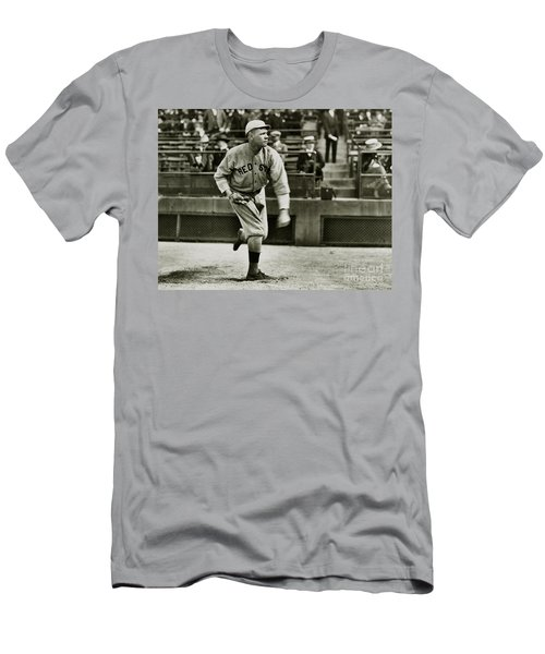 Babe Ruth Pitching Men's T-Shirt (Slim Fit) by Jon Neidert
