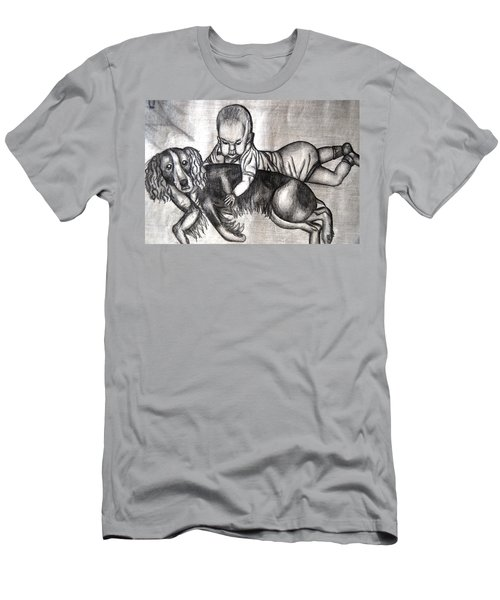 Baby And Dog Men's T-Shirt (Slim Fit) by Angela Murray