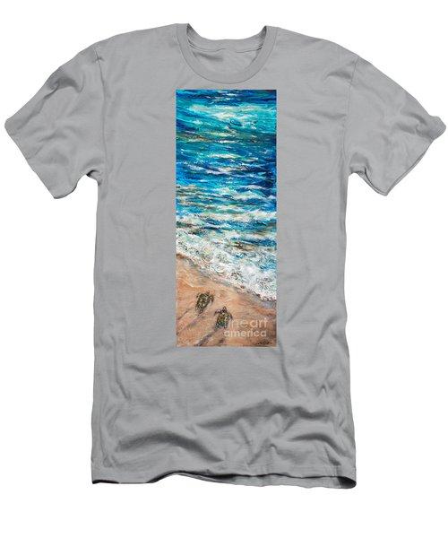 Baby Sea Turtles I Men's T-Shirt (Slim Fit) by Linda Olsen
