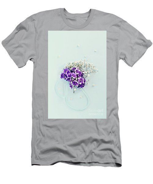 Baby's Breath And Violets Bouquet Men's T-Shirt (Slim Fit) by Stephanie Frey
