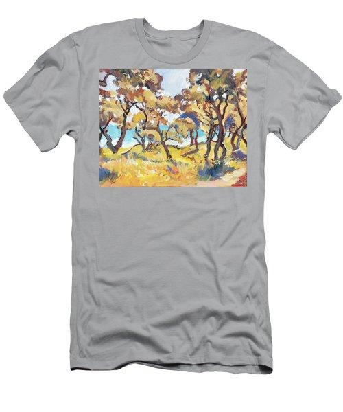 Backlight Olive Trees Marmari Beach Men's T-Shirt (Athletic Fit)