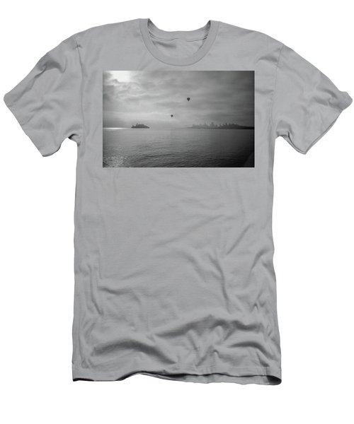 Men's T-Shirt (Athletic Fit) featuring the photograph Balloons Over San Francisco Bay by Frank DiMarco