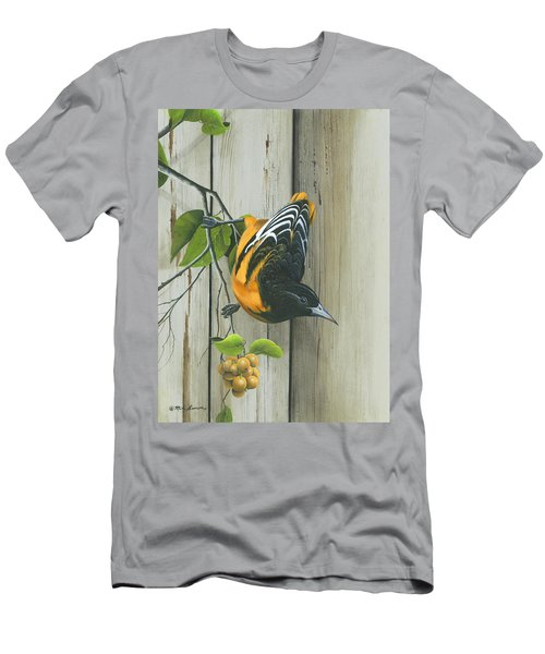 Men's T-Shirt (Slim Fit) featuring the painting Baltimore Oriole by Mike Brown