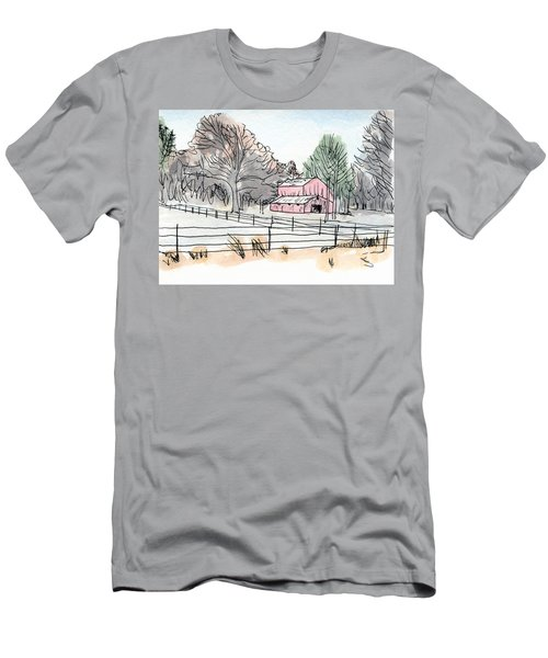 Barn In Winter Woods Men's T-Shirt (Athletic Fit)