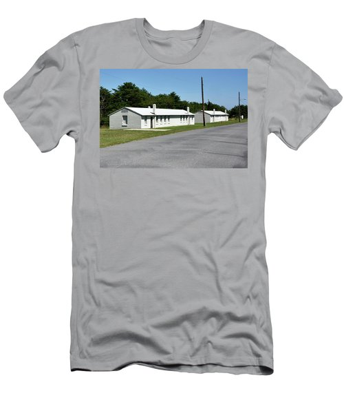 Men's T-Shirt (Slim Fit) featuring the photograph Barracks At Fort Miles - Cape Henlopen State Park by Brendan Reals
