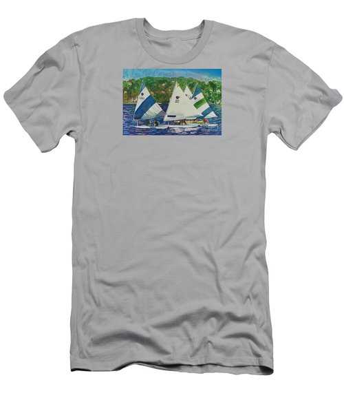 Bass Lake Races  Men's T-Shirt (Slim Fit) by LeAnne Sowa