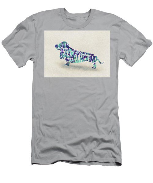 Basset Hound Watercolor Painting / Typographic Art Men's T-Shirt (Athletic Fit)