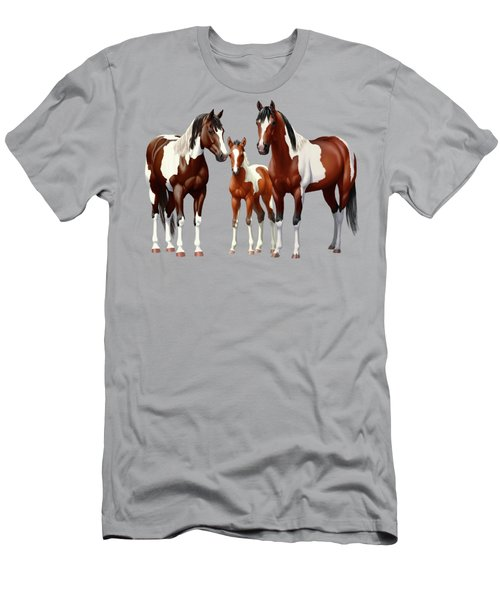 Bay Paint Horses In Winter Men's T-Shirt (Athletic Fit)