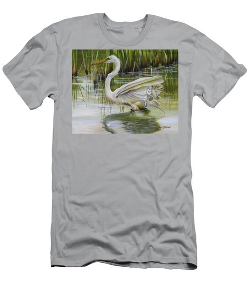 Bayou Caddy Great Egret Men's T-Shirt (Athletic Fit)