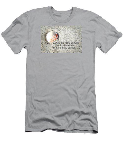 Men's T-Shirt (Slim Fit) featuring the painting Beach Art - Lucky Enough - Sharon Cummings by Sharon Cummings