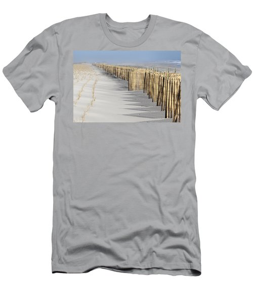 Beach Fence Shirley New York Men's T-Shirt (Slim Fit) by Bob Savage